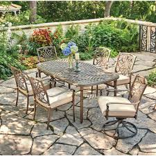Hampton Bay Patio Furniture Touch Up Paint by Hampton Bay Statesville Pewter 7 Piece Aluminum Outdoor Dining Set
