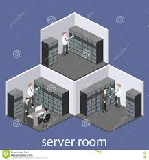 isometric interior of server room flat 3d illustration stock