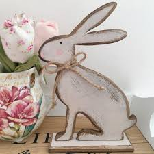 Rabbit Home Decor Large Vintage Style Grey Wooden Hare Rabbit Bunny Shabby Chic Home