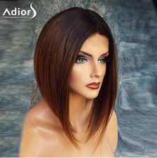 low hight hair black brown 12inch adiors short high low center parting straight bob