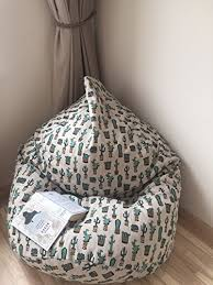 amazon com cactus beanbag natural linen bean bag chair cover