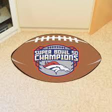 broncos super bowl 50 football shaped nylon area rug