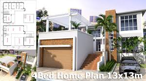 4 Bedroom House Designs Sketchup House Design Plan 13x13m 4bedroom Youtube