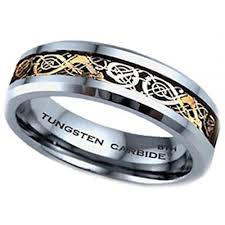 Tungsten Comfort Fit Wedding Bands Gold Celtic Dragon Tungsten Carbide Wedding Engagement Band Mens Ring