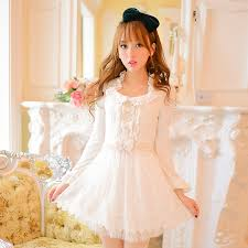 candy rain woman white bandage lace bow dresses long sleeves sweet