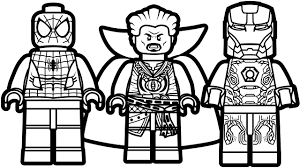 lego spiderman vs lego iron man vs lego doctor strange coloring