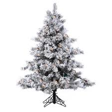 4 5 pre lit flocked alaskan artificial tree clear