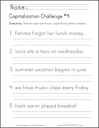capitalization challenge worksheet 4 ccss for first grade l
