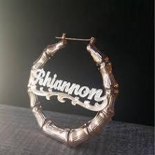 Hoop Earrings With Name Celebrity Style Personalized Name Hoop Earrings W Diamond Cut