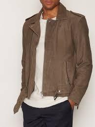 biker jacket shnsaint suede biker jacket selected homme grey jackets