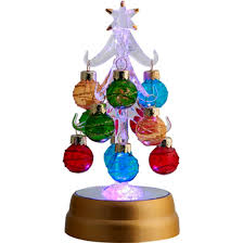 ls arts 6 inch lighted glass tree with 12 multi color ornaments