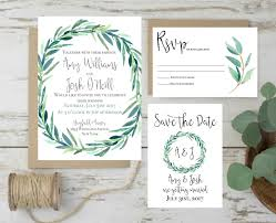 green wedding invitation eucalyptus wedding invitation