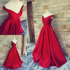 Ball Dresses Elegant Red Taffeta Ball Vintage Evening Dresses Off Shoulder Open