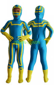 kick kids costume blue and yellow spandex lycra zentai suit