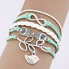 leather bracelet with silver charms images Vintage multilayer charm leather bracelet women owl cross believe jpg
