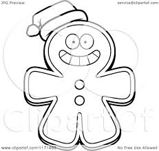 cartoon clipart of a christmas gingerbread man mascot wearing a