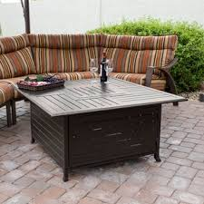 patio table with fire pit fire pit tables you ll love wayfair