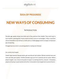 sujet bac pro cuisine idée de progrès nouveaux modes de consommation anglais bac s