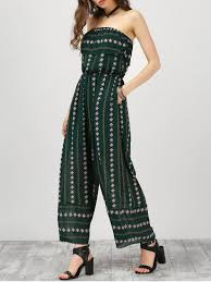 s jumpsuits strapless ruffle argyle wide leg jumpsuit blackish green