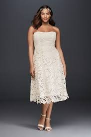 tea dresses wedding floral plus size tea length wedding dress david s bridal