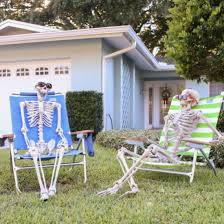 Backyard Haunted House Ideas Pose Your Halloween Skeletons In A Funny Yet Spooky Manner In Your