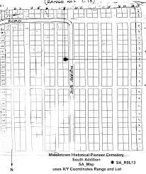 Middletown Ohio Map by Middletown Historical Pioneer Cemetery Layout