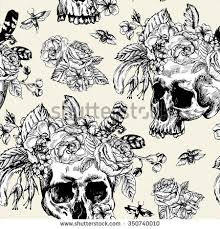 skull flowers day dead seamless pattern stock vector 350740010