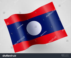 Plastic Flags Laotian Flag On Wavy Plastic Flag Stock Illustration 139489553