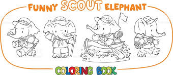 baby elephant scout coloring book stock vector art