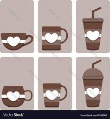 set of cute coffee cup royalty free vector image
