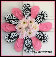skulls flip flop wreath pink black door hanging halloween