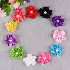 handmade hair accessories h17 20pcs lot satin cloth flower with pearl applique no