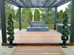 deck and pergola with fireplace