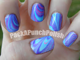 packapunchpolish blue pink and purple water marble nail artand