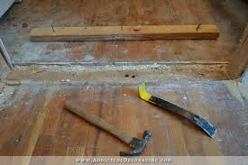 cased opening progress patched hardwood floor door casing