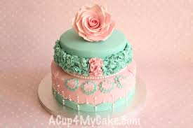 two tier cake with hand made gum paste rose acup4mycake