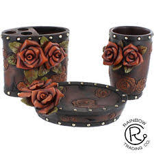 Red Bathroom Accessories Sets by Ceramic 4 Pc Bathroom Accessory Set Savannah Western Tooled Red