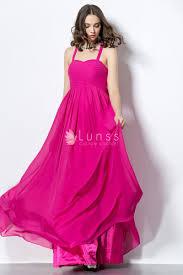 Simple Floor Pink Chiffon Halter Simple Floor Length A Line Bridesmaid