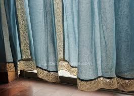 Blue Burlap Curtains Eco Friendly Big Window Cotton Burlap Curtains Of Mediterranean