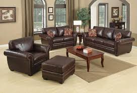Brown Leather Sofa Suite  Seater  Seater Chair Footstool - Sofa and footstool