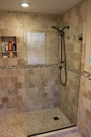 gorgeous small bathroom decoration using in wall tile shower