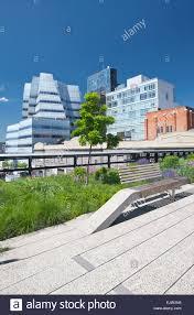 park bench high line elevated urban park chelsea manhattan new