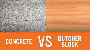 concrete vs butcher block countertop comparison youtube