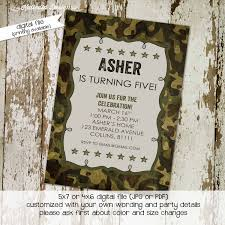 army birthday invitation baby boy shower camo party camping stars