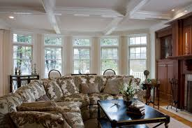 great room design formal sectional sofa with damask pattern as