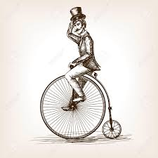 man on retro vintage old bicycle sketch style vector illustration