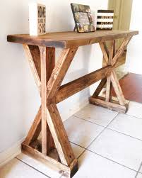 ana white extra long no middle shelf rustic x console diy projects