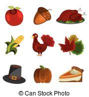 vectors illustration of thanksgiving set turkey pie and pilgrim