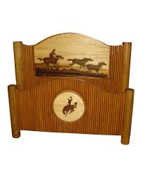 Rustic Bed Molesworth Style Rustic Bed With Horse And Cowboy Carving