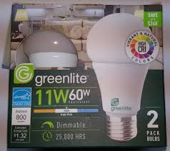 greenlite led shop light 2pack greenlite 11w 60w led dimmable light bulbs a19 energy star